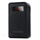 """10000mAh"" 2-USB Smart Mobile Power Bank  w/ LCD Screen / LED Flashlight - Black"