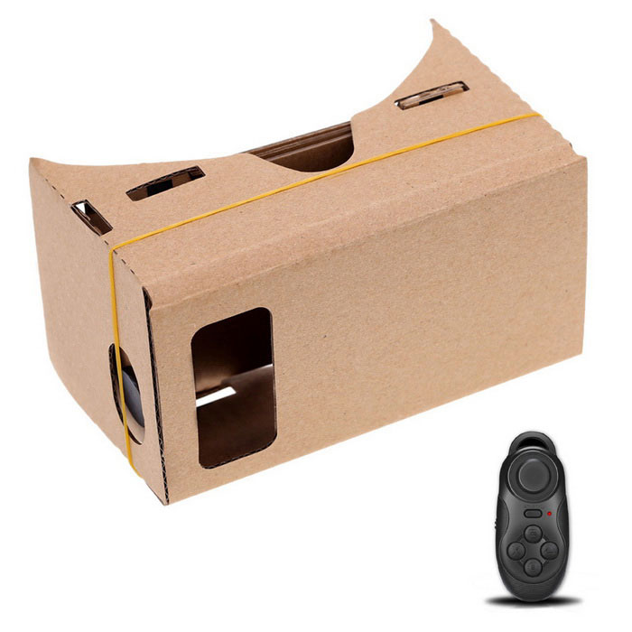"Cardboard VR 3D Glass w/ Blueooth Control for 5.0"" Screen Phone- Khaki"