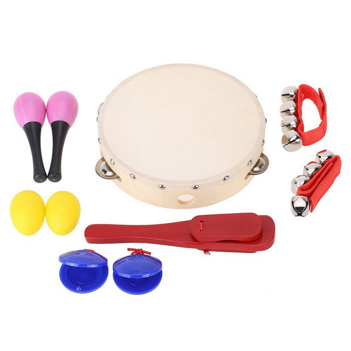 Shaking Jingle Bell Castanet Maraca Tambourine Percussion Set Musical Toy Gift for Baby - Wood Color