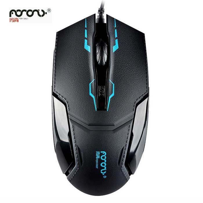 VAIN Aito 1200 dpi keinonahka Shell Game Wired Mouse - Musta + Sininen