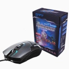 FOR ONLY Authentic 1200dpi Imitation Leather Shell Game Wired Mouse - Black + Blue