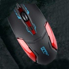 FOR ONLY Authentic 1200dpi Imitation Leather Shell Game Wired Mouse - Black + Red