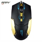 FOR ONLY Authentic 1200dpi Imitation Leather Shell Game Wired Mouse - Black + Gold