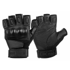 Outdoor Tactical Anti-Slip Half-Finger Gloves w/ Protective Hard Knuckles - Black (XL / Pair)