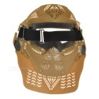 Outdoor CS War Game Full Face Protection Lens Mask Headwear Headgear - Tan