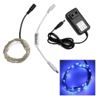 Decoration Waterproof 1.5W 50-SMD 0603 LED Copper Wire Light Strip Blue w/ Adapter Controller