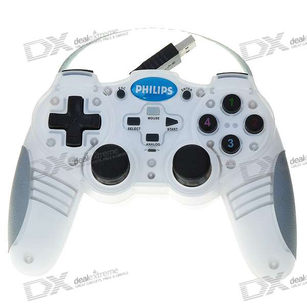 Genuine Philips USB Dual-Shock Gaming Controller with Retractable Cable for PC (150CM-Cable)