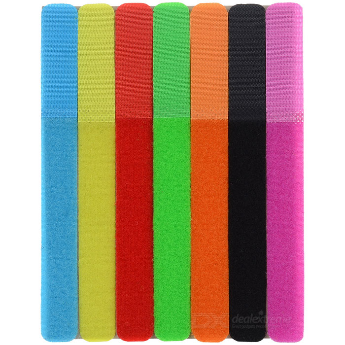 CT-01 Velcro Tape Wires Cables Cords Management Organizer - Multi-Colored (7PCS)