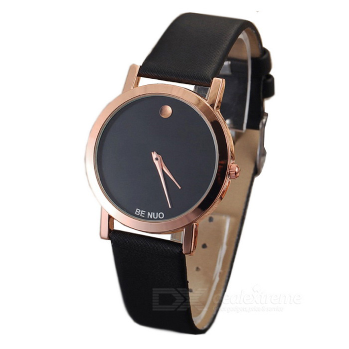 Novel Contracted Style Leather Wristband Quartz Watch - Black (1*SR626)
