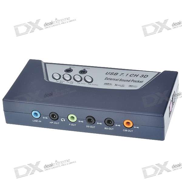 USB 2.0 7.1 Audio 8-Channel 3D External Sound Box
