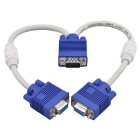 1-to-2 15Pin VGA Male to Female Splitter Cable - White + Blue (30cm)