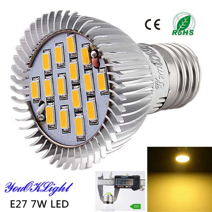 Youoklight E27 7W 15-SMD 5630 600lm 3000K blanco caliente proyector de la alta calidad LED (ac 85-265V)