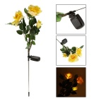 Power Saving Full Solar Air Water-proof 3 Roses Style LED Lights Landscape Lights - Green + Yellow