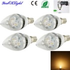 YouOKLight 4PCS E14 3W 260lm 3000K Warm White Light 3-High Power LED Candle Lamp (AC 85-265V)
