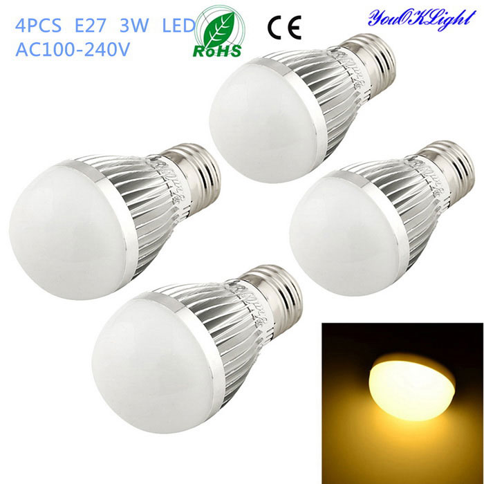 YouOKLight E27 3W 6-SMD 5730 260lm Warm White Light LED Globe Bulbs (AC 100-240V�� 4PCS)