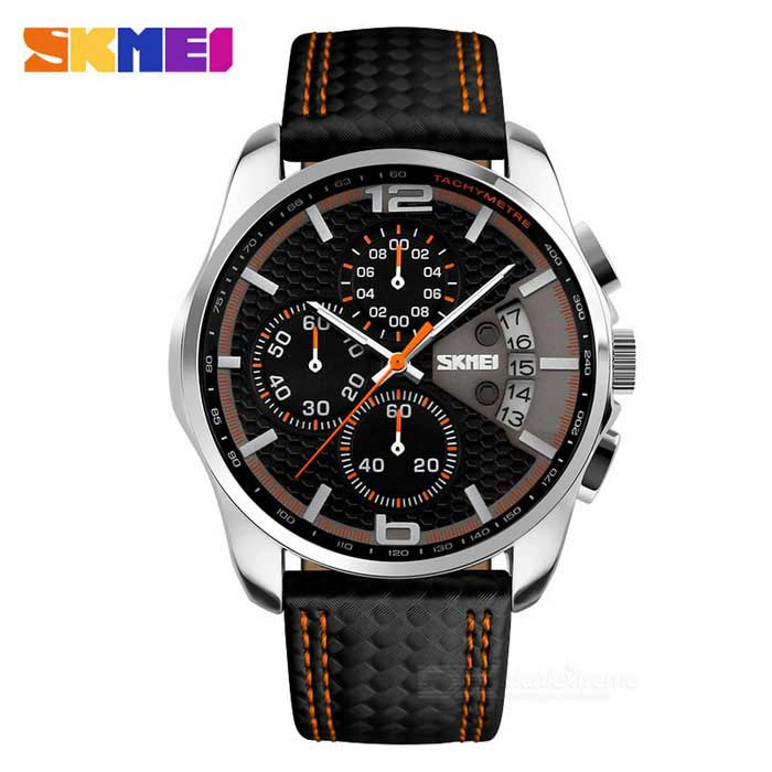 SKMEI 9106 50m Waterproof Leather Band Four Dials Quartz Watch - Black + Orange