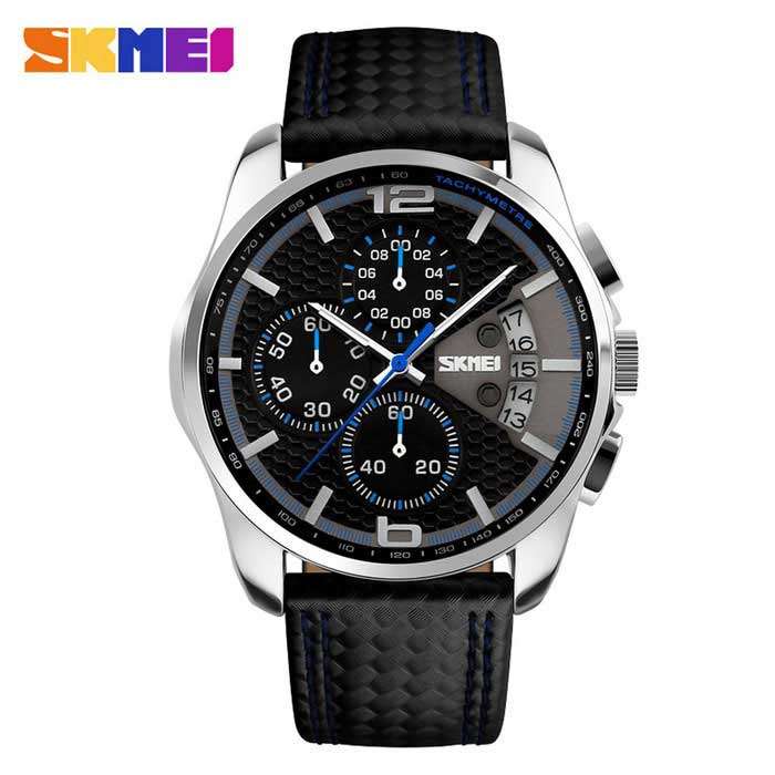 SKMEI 9106 Men's 50m Waterproof Leather Band Four Dials Quartz Watch w/ Calendar - Black + White