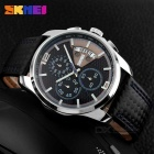 SKMEI 9106 Men's Leather Band Four Dials Quartz Watch w/ Calendar