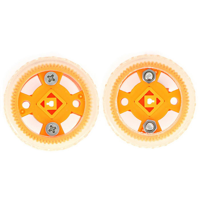 Smart Car Model 47*21mm Wearable Rubber Wheel for N20 Gear Motor - Yellow + Transparent White (2PCS)
