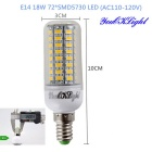 YouOKLight E14 18W LED Corn Bulbs Lamp Warm White Light 3000K 1600lm 72-SMD 5730 (AC 110~120V, 6PCS)