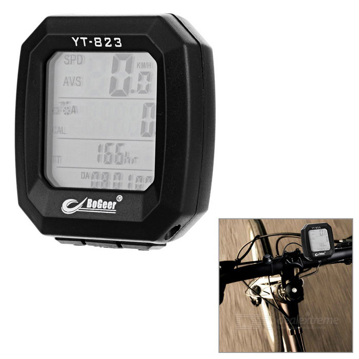 BOGEER YT-823 1.4 Screen 24-Function Water-Resistant Bicycle Bike Computer - Black (1*CR2032)Bike Computer<br>Form  ColorBlackModelYT-823Quantity1 DX.PCM.Model.AttributeModel.UnitMaterialABSScreen Size1.4 DX.PCM.Model.AttributeModel.UnitBattery TypeCR2032 batteryBattery Number1Battery included or notYesWaterproofYesBacklightGreenPacking List1 x Bike computer1 x Base (90cm-cable)5 x Cable ties1 x Magnet1 x Spacer1 x Chinese &amp; English user manual<br>