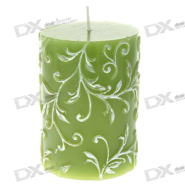 Charming Smokeless Vanilla Scented Carved Column Candle - Green