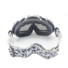 Panlees DH001 Anti-Fog Warm Soft TPU Frame Duable-Layer PC Lens Skiing Goggles - Black + White