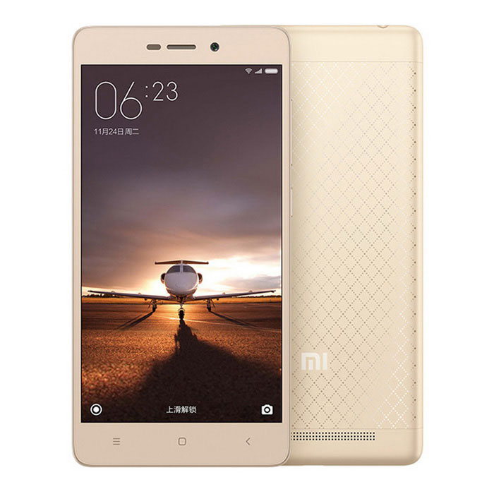Xiaomi Redmi 3 Octa-core Snapdragon 616 PhoneAndroid Phones<br>Form  ColorGoldenRAM2GBROM16GBBrandXiaomiModelHM 3LTE-CUQuantity1 pieceMaterialAluminum alloy + plasticShade Of ColorGoldTypeBrand NewPower AdapterUS PlugsHousing Case MaterialAluminum alloyTime of Release2016-1-11Network Type2G,3G,4GBand Details2G: GSM B2/3/5/8 3G: CDMA EVDO BC0 3G: WCDMA B1/2/5/8 3G: TD-SCDMA B34/39 4G: TD-LTE B38/39/40/41 4G: FDD-LTE B1/3/7Data TransferGPRS,LTENetwork ConversationOne-Party Conversation OnlyWLAN Wi-Fi 802.11 b,g,nSIM Card TypeMicro SIM,Nano SIMSIM Card Quantity2Network StandbyDual Network StandbyGPSYesInfrared PortYesBluetooth VersionOthers,V4.1+ HIDOperating SystemAndroid 5.1CPU ProcessorQualcomm Snapdragon 616CPU Core QuantityOcta-CoreLanguageSimplified Chinese, Traditional Chinese, German, Indonesian, Malay, English, Spanish, French, Italian, Hungarian, Dutch, Portuguese, Romanian, Vietnamese, Russian, Turkish, Greek, Hebrew, Arabic, Thai, KoreanGPUAdreno 405Available MemoryN/AMemory CardMicro SD CardMax. Expansion SupportedSupport TF card up to 128GB extendedSize Range5.0~5.4 inchesTouch Screen TypeTFTScreen Resolution1280*720Screen Size ( inches)5.0Camera Pixel13.0MPFront Camera Pixels5.0 MPFlashYesTouch FocusYesTalk Time9-12 hourStandby Time264 hourBattery Capacity4000 mAhBattery ModeNon-removablefeaturesWi-Fi,GPS,BluetoothSensorG-sensor,ProximityWaterproof LevelIPX0 (Not Protected)I/O InterfaceMicro USB,3.5mmUSBMicro USB v2.0Format SupportedMP3/WAV/MID/AMR/MP4/3GP/M4A/RM/RMVB/WMV/JPEG/PNG/GIF/BMP/Reference Websites== Will this mobile phone work with a certain mobile carrier of yours? ==Packing List1 x Cellphone1 x Data cable (115cm)1 x US plug power adapter (100~240V)<br>