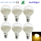 YouOKLight 6PCS E27 12W 18-SMD 5630 900lm Warm White Light Bulb