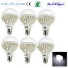 YouOKLight E27 12W 18-SMD 5630 900lm 6400K White Light LED Globe Bulbs (AC 220V, 6PCS)