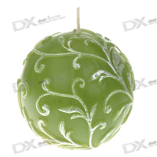 Charming Smokeless Vanilla Scented Carved Ball Candle - Green