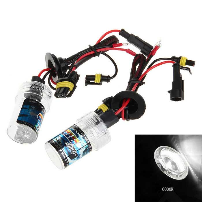 H1 35W 6000K White Light HID Xenon Lamp for Car / Motorcycle (12V / 2 PCS) - Transparent