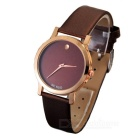 Novel Contracted Style Leather Wristband Quartz Watch - Dark Brown + Brown (1*SR626)