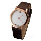 Novel Contracted Style Leather Wristband Quartz Watch - Dark Brown + White (1*SR626)