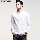 KUEGOU Men's Stand Collar Long Sleeve Shirt - White (XXL)