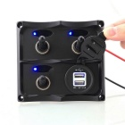 IZTOSS S8003-JU ON-OFF Toggle Switches Panel w/ 3.1A Dual USB Charger & Blue LED - Black
