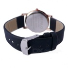 Novel Contracted Style Leather Wristband Quartz Watch - Black + Silvery White (1*SR626)