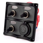 IZTOSS S8003-JS ON-OFF Toggle Switches Panel w/ 12V Cigarette Lighter Socket & Blue LED - Black
