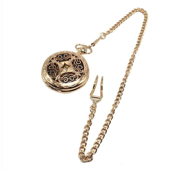 W13 Men's Retro Zinc Alloy Mechanical Analog Pocket Watch - Golden