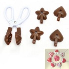 3-in-1 Clip Scissors Heart Spend Star Lollipop Cake Chocolates Mould - White + Brown