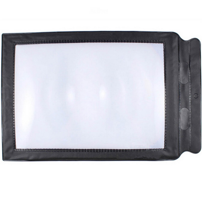 A4 Card Type Ultrathin PU Frame Explosion-Proof Magnifier - Black + MulticolorMagnifiers<br>Form ColorBlack + TransparentQuantity1 DX.PCM.Model.AttributeModel.UnitMaterialPVCMagnificationOthers,3xLens Size22.3cm x 15.5cmPacking List1 x Magnifying glass<br>