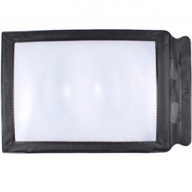 A4 Card Type Ultrathin PU Frame Explosion-Proof Magnifier - Black + Multicolor