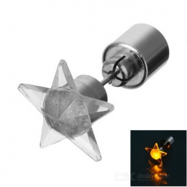 CTSmart Fashion Star Style Yellow Light LED Luminous Ear Stud Earring for Party / Bar - Silver