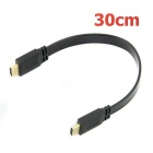 1080p HD High Speed ​​HDMI V1.4 Flat Kabel m / Ethernet 3D HDTV - Svart (50cm)