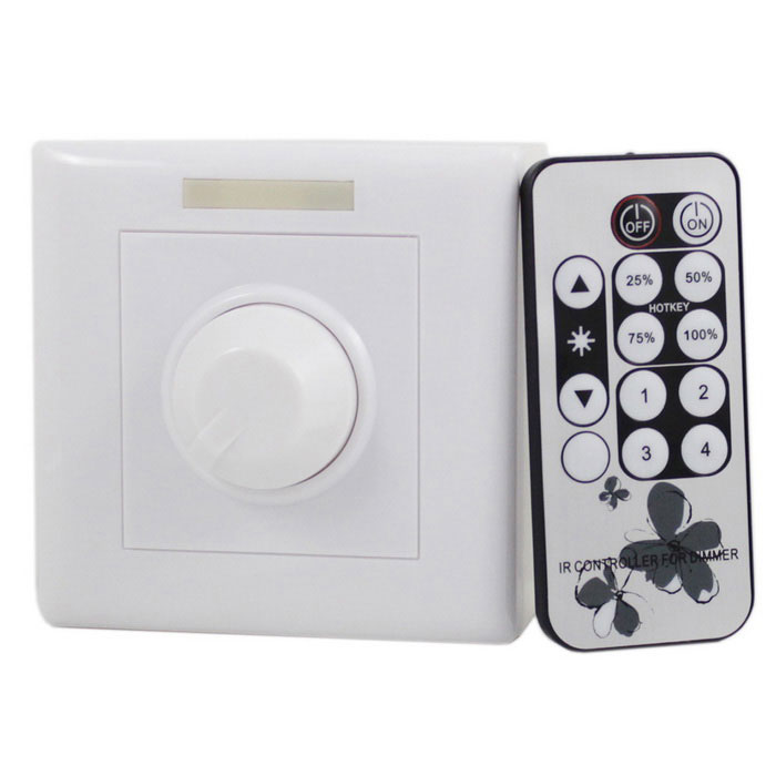 200W LED IR Wireless Remote Control Dimmer (DC 12~24V)Dimmer Controllers<br>ModelETH-800MaterialABSForm  ColorWhite + Black + Multi-ColoredQuantity1 setWith Switch ControlYesPower200 WWorking Temperature-20~+60 ?Water-proofNoRanges of remote10 mWorking Voltage   AC 90~240 VWorking Current1 ADimmableYesPacking List1 x Dimmer1 x 13-key controller (Built-in CR2025 battery)1 x English manual2 x Screws<br>