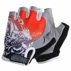 MOke Outdoor Cycling Riding Breathable Anti-Shock Half-Finger Gloves - Grey + Red (M / Pair)