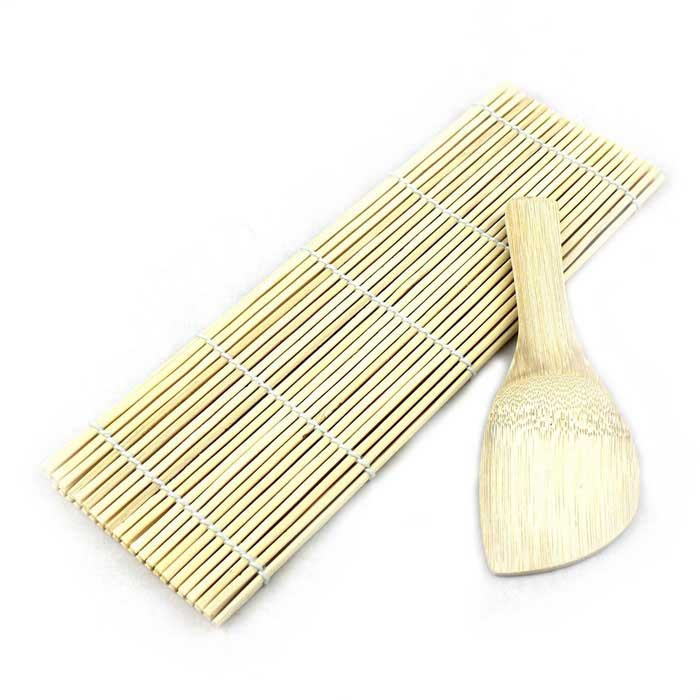 Bamboo Sushi Rolling Maker Mat Tool w/ Rice Ladle - Wood