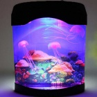 Electron Simulation Jellyfish Fish Tank Aquarium w/ 4-Color LED Night Light - Black + Multi-Colored