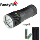FandyFire 8-LED R8 8000lm 4-Mode Cool White Light Flashlight - Grey + Silver (4*18650)