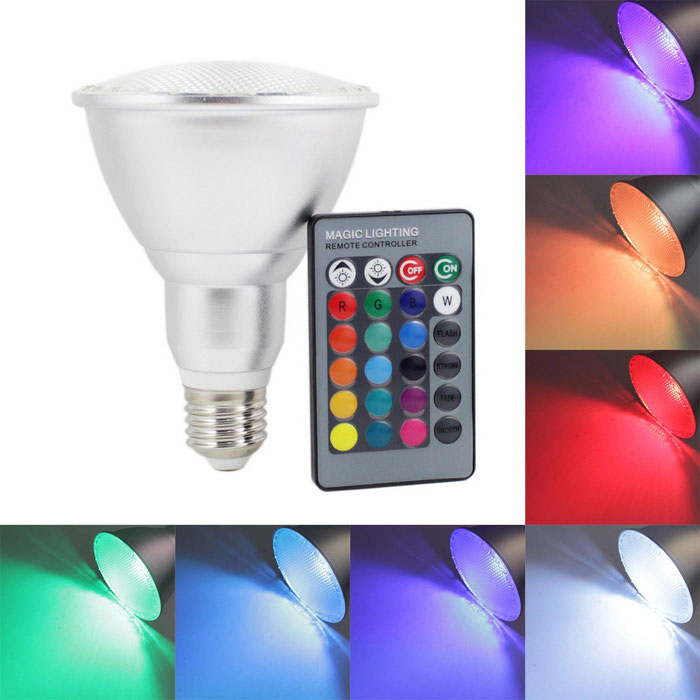 KINFIRE PAR30 E27 10W 800lm LED RGB Light Bulb + 24 Key Infrared Remote Controller (AC 85~265V)E27<br>Form  ColorSilverColor BINRGBMaterialAluminium alloy + PCQuantity1 DX.PCM.Model.AttributeModel.UnitPower10WRated VoltageAC 85-265 DX.PCM.Model.AttributeModel.UnitConnector TypeE27Chip BrandOthers,N/AChip TypeLEDEmitter TypeOthers,RGB integrated light sourceTotal Emitters1Theoretical Lumens1000 DX.PCM.Model.AttributeModel.UnitActual Lumens800 DX.PCM.Model.AttributeModel.UnitColor Temperature12000K,Others,N/ADimmableYesBeam Angle160 DX.PCM.Model.AttributeModel.UnitWavelengthRED:635~700nm;Green490~560nm;blue450~490nmPacking List1 x RGB Light Bulb1 x 24Key Remote Controller (Contains a CR2025 button battery)<br>